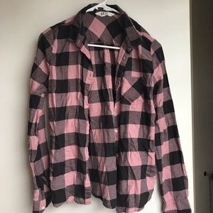 H&M Pink and black flannel